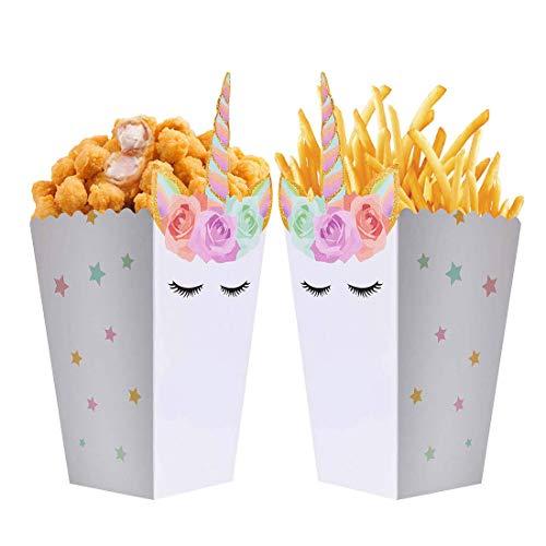 OASMU 24st Einhorn Snack/Popcorn Boxen Partyzubehör Party Taschen Papier Geschenktüten Kinder Geburtstag