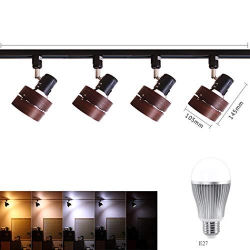 Vintage Deckenstrahler Track Light LED rustikal verstellbare 4-Licht-Strahler Beleuchtung mit LED-Glühbirne, Remote-Dimmen, 9W,A -