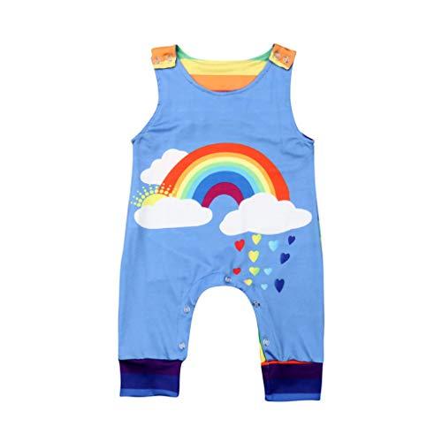 Familie Disney Niedliche Kostüm - Neugeborenes Baby Mädchen Jungen ärmellose Regenbogen Strampler Overall Kleidung Outfits