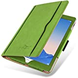 iPad Air 2 Case - The Original Green & Tan Leather Smart Cover for iPad Air and Air 2 (5th and 6th Gen)