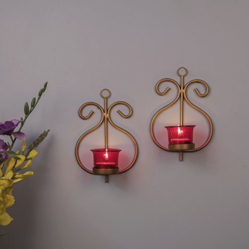 Homesake Set Of 2 Decorative Golden Wall Sconce/Candle Holder With Red Glass And Free T-Light Candles