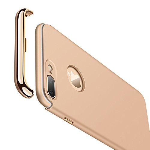 UKDANDANWEI Apple iPhone 7 Luxe 3 In 1 Hybrid Dur PC Etui Protecteur Bumper Housse avec Electroplate Plating Mirror Back Coquille Ultra Mince Protective Plastique Case Cover Anti-Scratch et Anti-Slip  Bleu