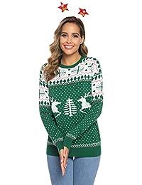 Abollria Suéteres Navideños Jersey de Navidad Cuello Redondo Pullover de Punto Invierno para Mujer Hombre Nina Niño Familia