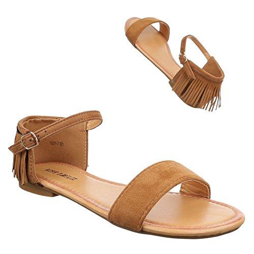 Damen Schuhe, 1021-7, SANDALEN WESTERN STYLE FRANSEN Camel