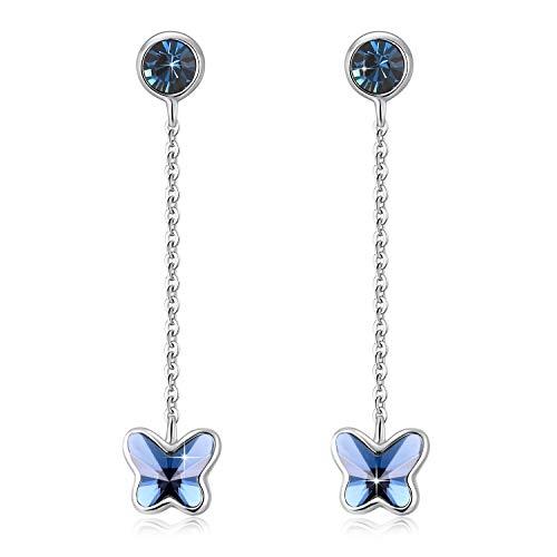 Orecchini per Donne Cerchio Piccoli Zaffiro a forma di Farfalla Pendenti con Cristallo Swarovski,Un regalo perfetto per ogni donna