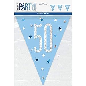 Unique Party- Bandera, Color blue & silver (83441)