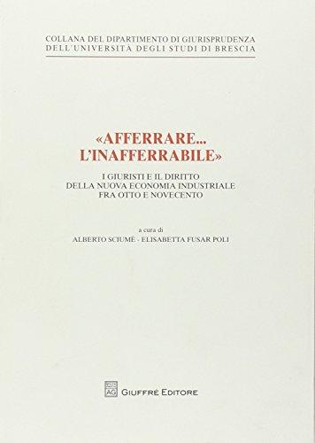 «Afferrare... l'inafferrabile». I giuristi e il diritto della nuova economia industriale fra Otto e Novecento