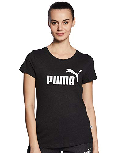 PUMA Damen ESS Logo Tee T-Shirt, Dark Gray Heather, S