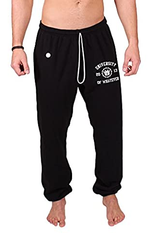 UOW Men's Pull-Up Sweat pants Lightweight gym pants Black Large