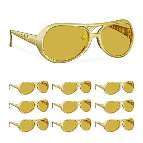 Relaxdays 10 x Elvis Brille, lustige Rapper & Proll Brille, Kostüm, große Zuhälter Brille für Karneval und Mottopartys, gold