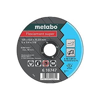 Metabo 616747000 616747000-Disco de desbaste para Amoladora Angular Flexiamant Super A30-O Acero Inoxidable embutido Ø 125 x 6 x 22,22 mm, 1 Unidad