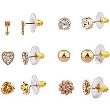 Lux accesorios pendientes con diseño de triángulos de Nina de corazón y flores diseño de Lily pendiente para el juego de múltiples de tuerca