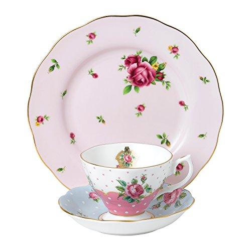 Royal Albert 40034973Modern Vintage Collection Teetasse, Untertasse, Teller, pink, blau, weiß Alte Rose Fine China