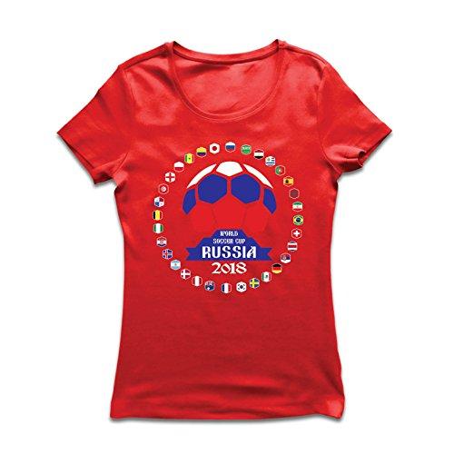Lepni.me Camiseta Mujer Las 32 Banderas del Equipo de fútbol Nacional -...