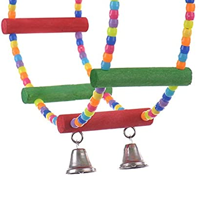 LA VIE Parrot Bird Toy Wooden Rope Cave Aviary Ladder Swings Bells 3