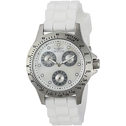 INVICTA WOMEN'S SPEEDWAY WHITE SILICONE BAND STEEL