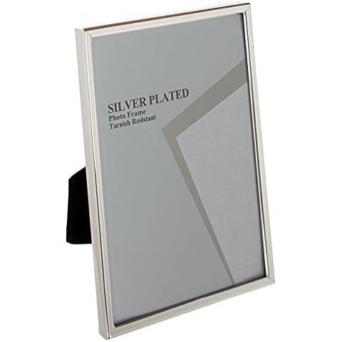 Viceni - Marco para fotos con borde fino, bañado en plata (13 x 18 cm)