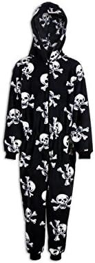 Camille - Pijama infantil de una pieza - Estampado de calaveras piratas - Blanco y negro