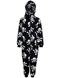 Camille Childrens Unisex Black And White Skull Print Hooded Fleece Onesie