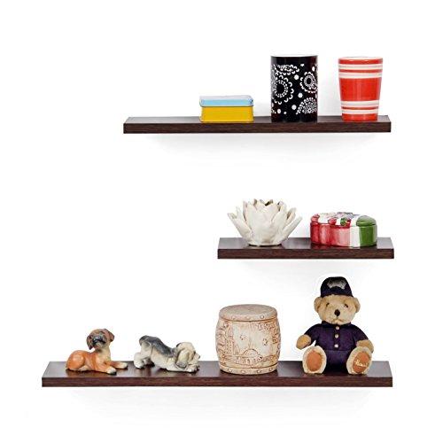 Forzza Diva Wall Shelf, Set of 3 (Matte Finish, Wenge)