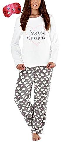 i-Smalls Ensemble de Pyjama en Molleton ultra Doux pour Femmes avec un Motif Brodé et un Fond Imprimé PJ avec Masque pour les Yeux (M) Cream
