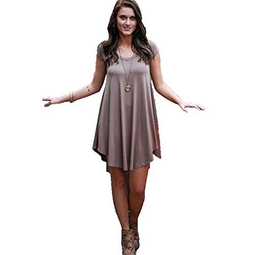 DaBag- Damen Loose Sommerkleider Rundkragen A-Linie kleid Plus Size Temperament Kurzarm Freizeit kleider Gemütlich (M, (Gothic Kostüm Barbie)