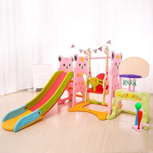 PNFP Baby Rutschen für Kinder, Indoor Klettergerüste und Spielsets mit Schaukeln, Fußballtor, Basketball Stehen, Baseballschläger, Kann mit Verwendet Werden Ball-Pool (Color : Pink-4, Size : A)