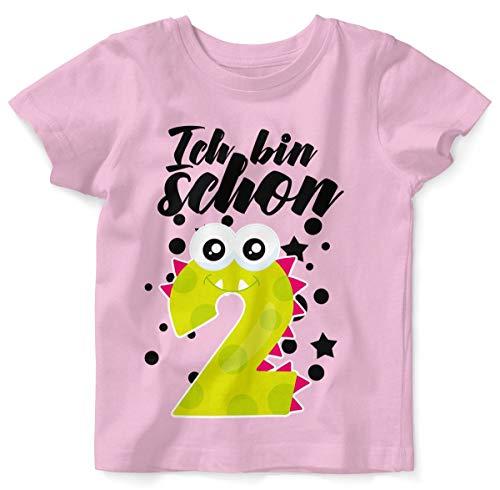 T-Shirt mit Spruch für Jungen Mädchen Unisex Kurzarm Ich Bin Schon 2 | handbedruckt in Deutschland | Handmade with Love, Farbe:rosa, Grösse:92/98 ()