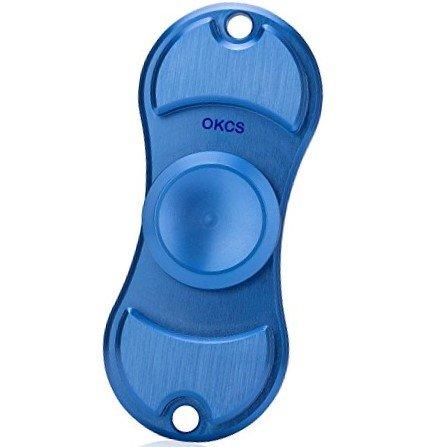 Preisvergleich Produktbild Stress-Reducer Duo Fidget Spinner aus Aluminum Stylisch - in Trendy Blau