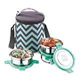NanoNine Duo Stainless Steel Lunch Box with Steel Lid and Tiffin Bag, 3