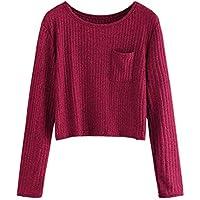 Juliyues Damen Pullover Sweatshirt,Frauen Rundhals Strickpullover Kurze Langarmshirt Oberteil Sweater Crop Tops Bluse