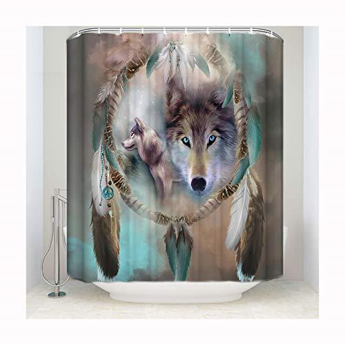 Knbob Deko Duschvorhang Starrender Wolf-Hund Starrender Wolf-Hund Shower Curtain 183X244CM mit Haken Badezimmer Vorhänge -