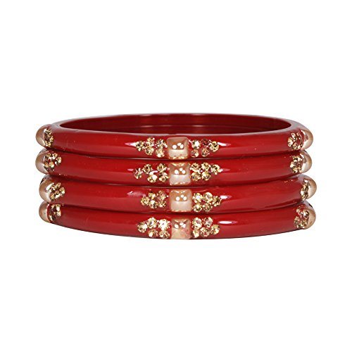 Manihaar Red Glass Bangle Set Preet Kada For Women (2.60)