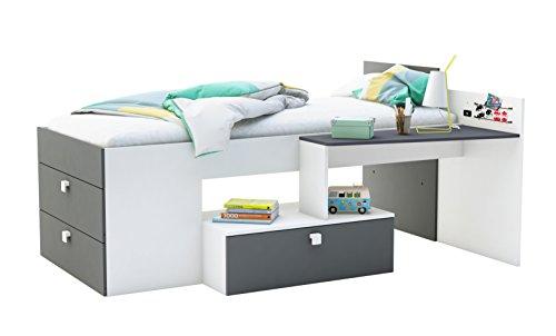 demeyere Move Kombi-Bett mit Schreibtisch 90x200 cm, Spanplatte, Perle Weiß/Graphite Grau, 204.3x138.8x96 cm (BxTxH)