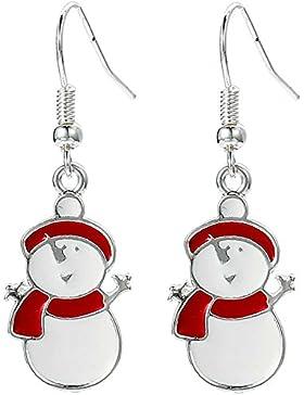 Happy Schneemann Drop Baumelnden Ohrringe mit Geschenk Tüte Damen Mädchen Weihnachten Schmuck