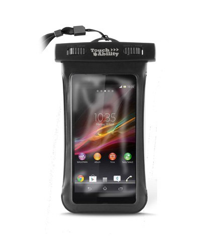 TouchAbility Waterproof Pouch Dry Bag Case For Mobile Phones, iPhone, Samsung Galaxy, HTC One etc. (Black, Large) - S3 Samsung Case Waterproof Galaxy