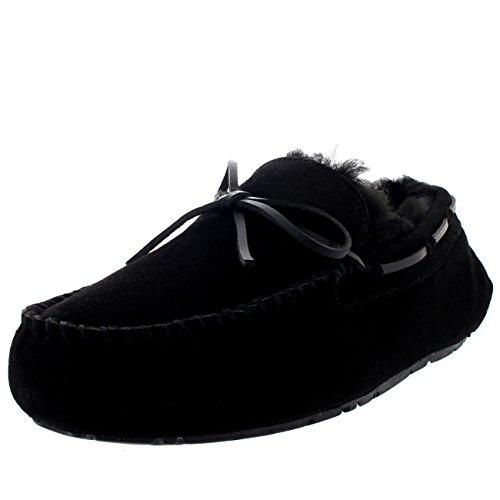 Schaffell Tall Boots (Polar Herren Mokassin Echte Australische Schaffell Original Pelz Gefüttert Bummler Pantoffeln - Schwarz - UK9/EU43 - YC0448)