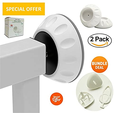 SPECIAL OFFER Wall Guard for Pressure Gate 2 Pack - BUNDLE 2 plug cover + 1 key, Compact Wall Guard, Best Priced Wall Cups, Protects Your Stairs, Doors, & Walls - Perfect For Active Babies & Pets - 2 Pack
