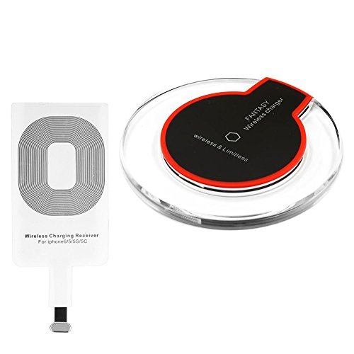 Portable Universal Qi Wireless Charger Charging Power Pad Stand + Ultra-thin QI Wireless Charger Receiver Module for Apple iPhone 7 Plus 6 6s plus 5s 5 SE Test