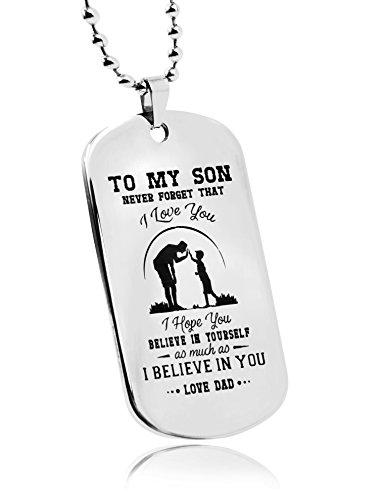 LITTONE® vers Mon fils NE jamais Oublier que. I Love You. Motivante garçons Bijoux Dog Tag Collier personnalisé Père fils Pendentif anniversaire en métal Militar Cadeau de Père en fils