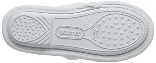 Isotoner Popcorn Cross Strap Slippers, Pantofole Donna White (White)