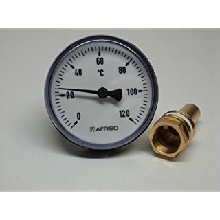 Afriso Bi-Metal Dial Thermometer 0 to 120 °C 63 mm with Plastic Case