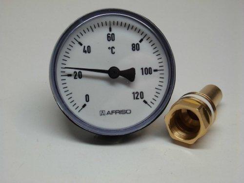 Afriso Bimetall Zeigerthermometer 0-120°C. 63 mm mit Kunststoffgehäuse -