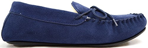 SNUGRUGS Lambswool Suede With Rubber Sole, Pantofole Uomo Blu (Blu (Navy))