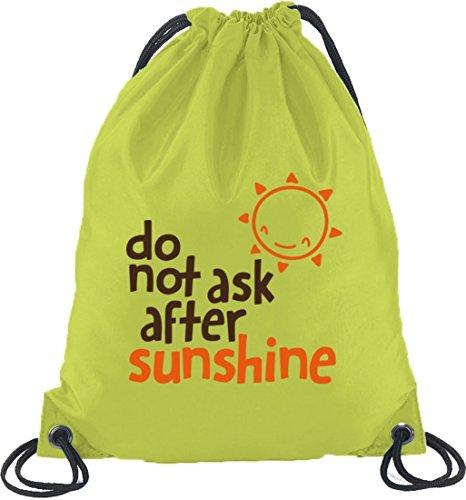 Do Not Ask After Sunshine, lustige Sprüche Turnbeutel Rucksack Sport Beutel Limone