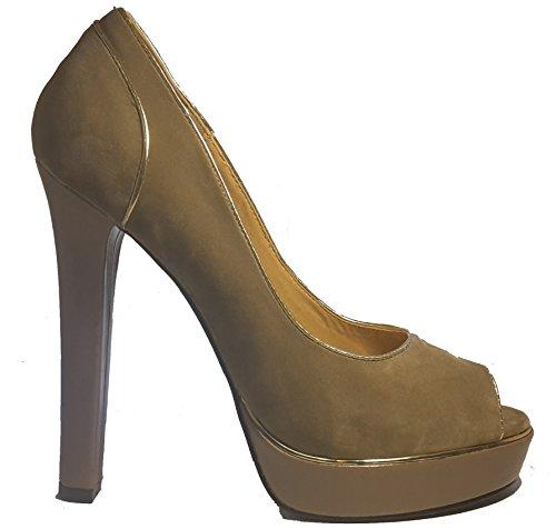 Talons hauts, Stiletto Pumps High Heels Peep Toe, rouge, bleu, noir, marron, beige ou rouge avec des rivets, très sexy, modèle 11064102001805, escarpins, modèles et tailles différents. Beige.
