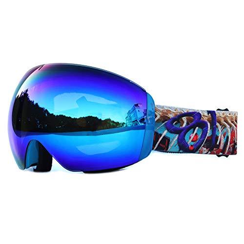 CXJ Lunettes De Ski Sphériques Frameless pour Hommes Et Femmes Lunettes De Soleil à Double Lentille OTG Protection UV400 Anti-Brouillard,BlueRevo(VLT25%)