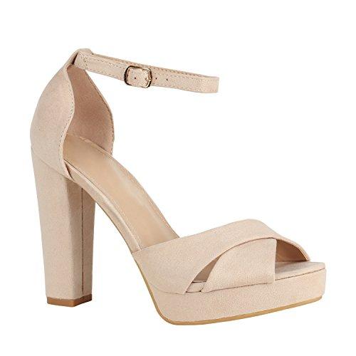 Damen Schuhe Plateausandaletten Party Puschel Block Absatz 156135 Creme Bernice 37 | Flandell® (Block-heel-schuhe)