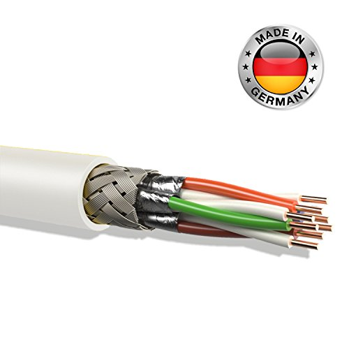 leoni cat 7 Verlegekabel Gigabit 10Gbit Netzwerkkabel CAT.7 SFTP S/FTP CAT7 Netwerkkabel Installationskabel PIMF CAT.7 Kabel CAT7 Netzwerk Verkabelung LAN Kabel Datenkabel CAT7 made in Germany 4x2xAWG26/1 , weiß CAT 7 CAT.7 CAT7 Netzwerkkabel Gigabit 10/100/1'000/10'000 MBit zum Anschluß an Patchpanel , Netzwerkdosen (25m)