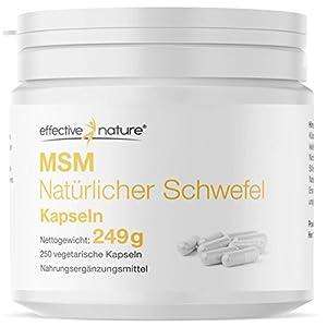 Effective Nature – MSM Natürlicher Schwefel | 99,9 % Reinheit | Beste kontrollierte Qualität | Hochdosiert mit 3400 mg MSM pro Tagesdosis | MSM aus den USA | Ohne Zusatzstoffe | 250 Kapseln